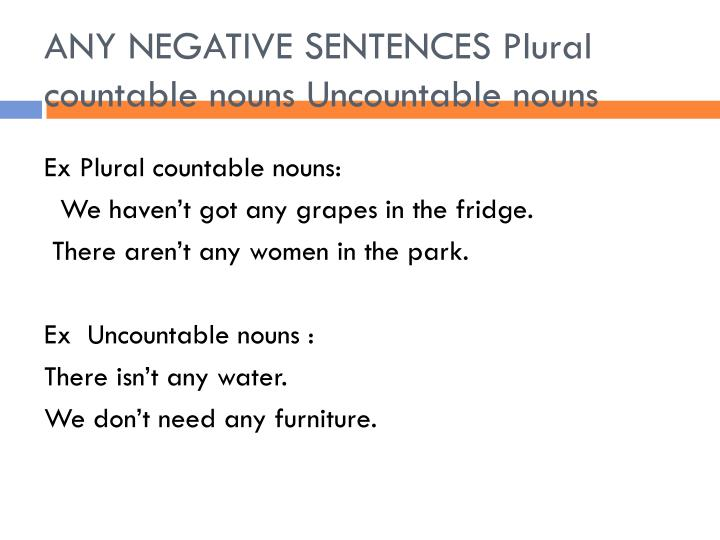 ANY NEGATIVE SENTENCES Plural countable nouns Uncountable nouns
