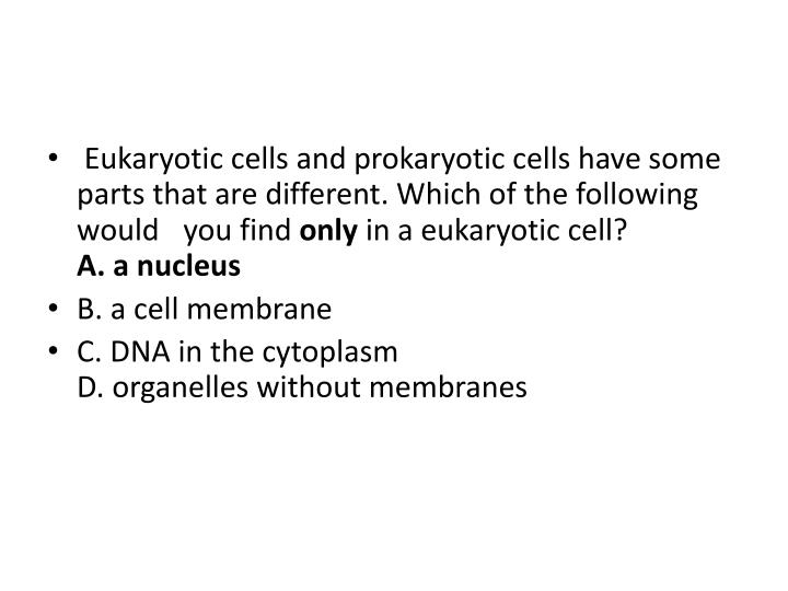 Eukaryotic cells and prokaryotic cells have some parts that are different. Which of the following would you find