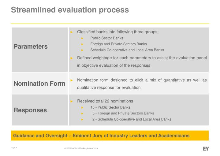 Streamlined evaluation process