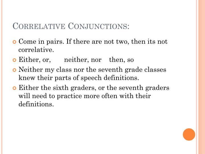 Correlative Conjunctions: