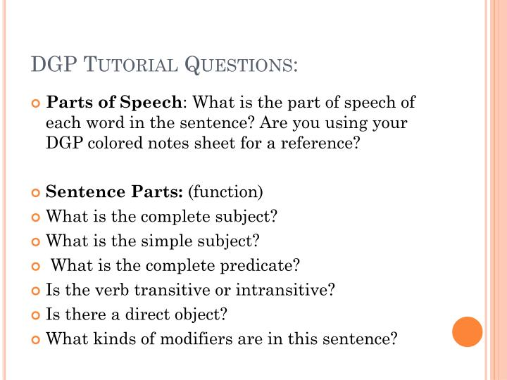 DGP Tutorial Questions: