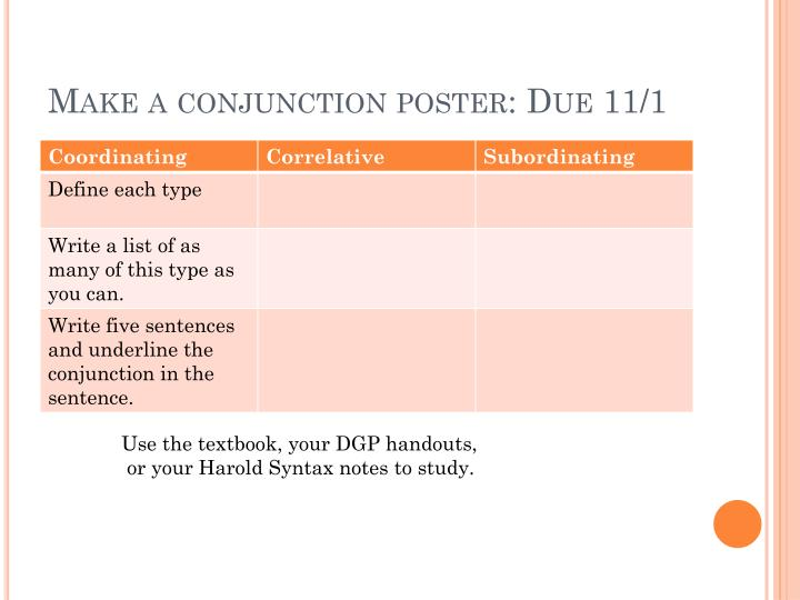 Make a conjunction poster: Due 11/1