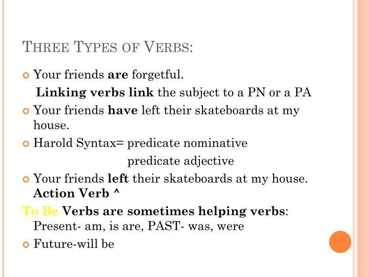 Three Types of Verbs: