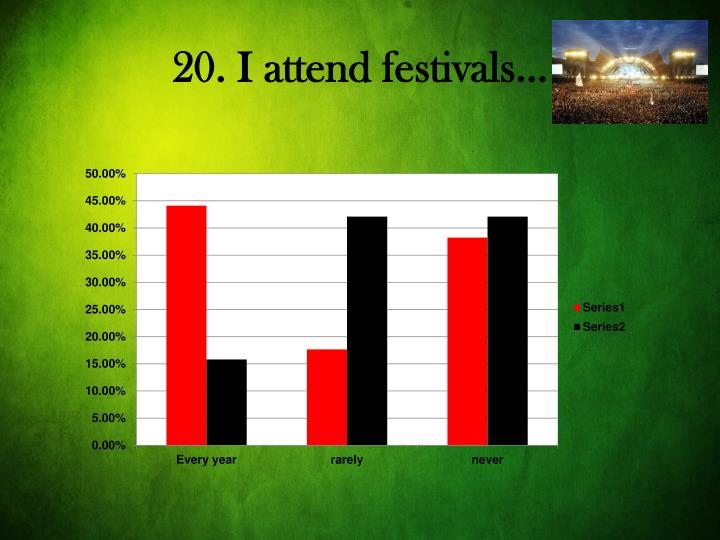 20. I attend festivals…