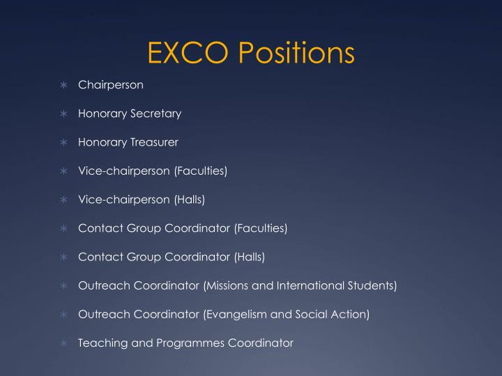 EXCO Positions
