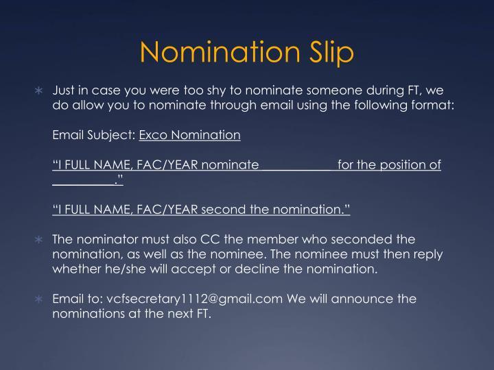 Nomination Slip