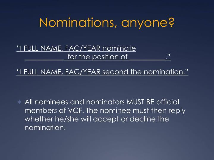 Nominations, anyone?