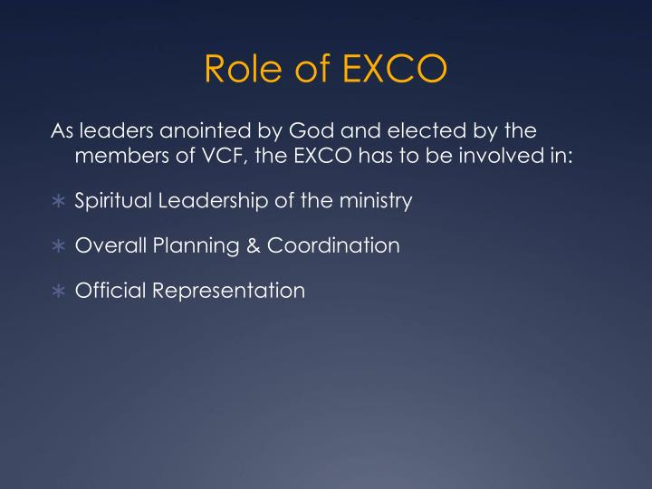 Role of EXCO