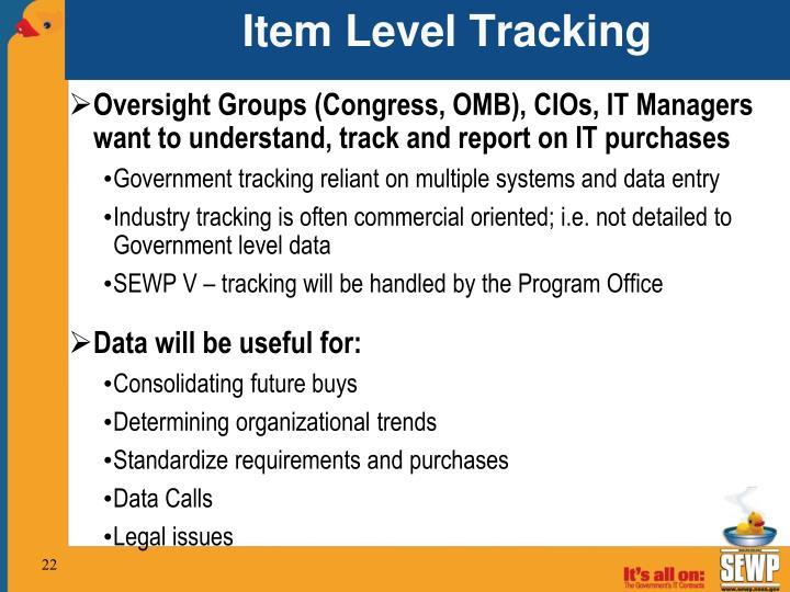 Item Level Tracking