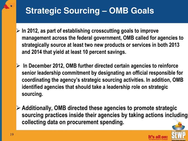 Strategic Sourcing – OMB Goals