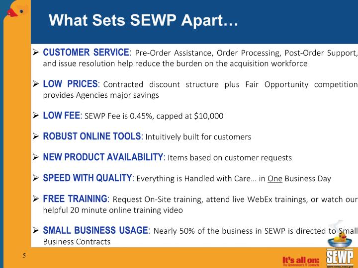 What Sets SEWP Apart…