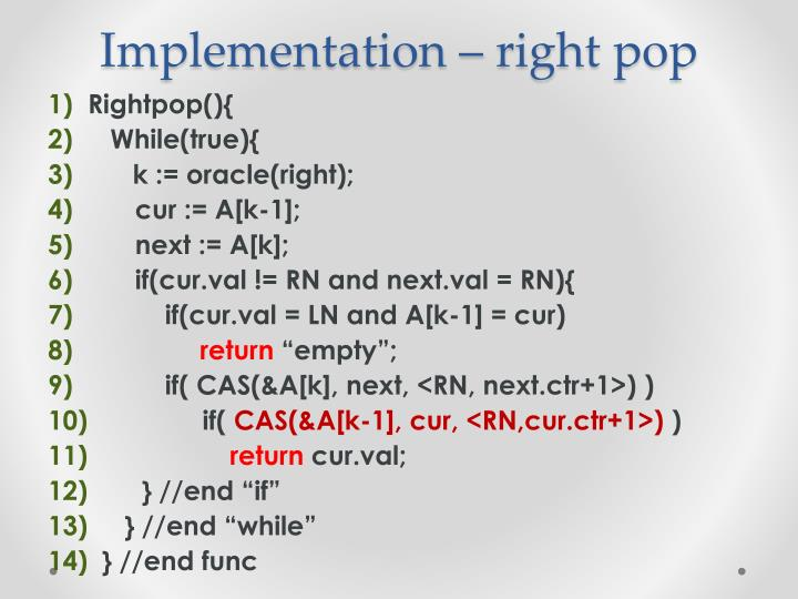 Implementation – right pop