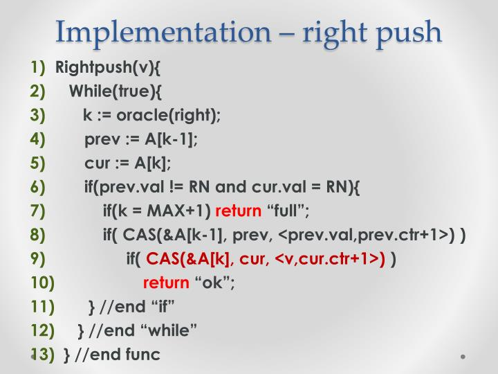 Implementation – right push