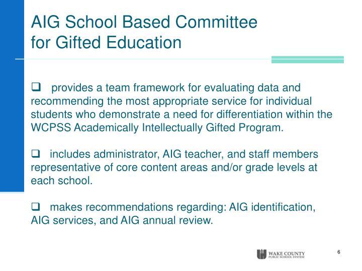 AIG School Based Committee