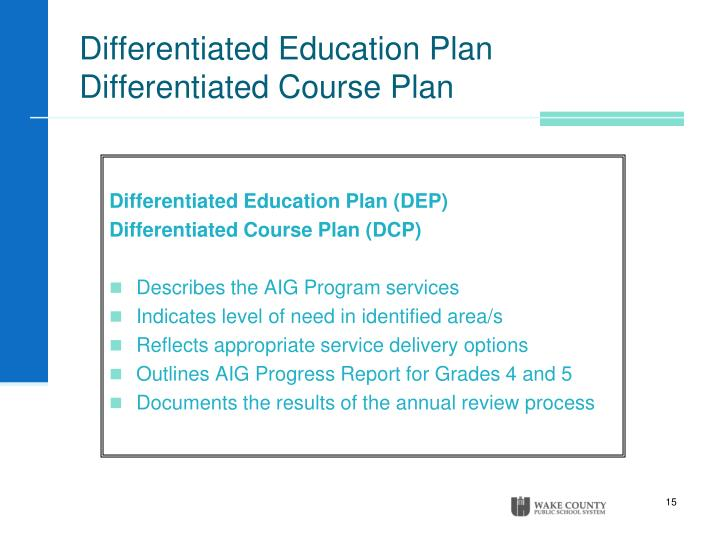 Differentiated Education Plan