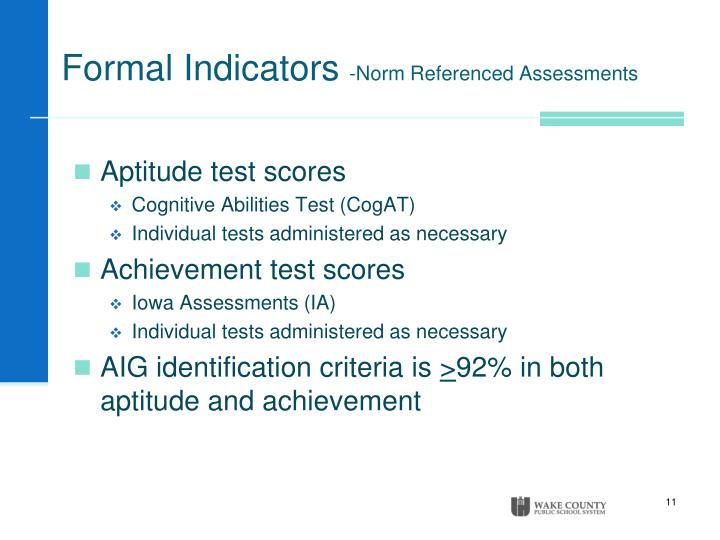 Formal Indicators