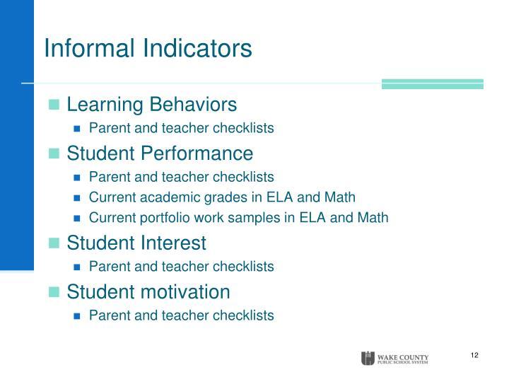 Informal Indicators