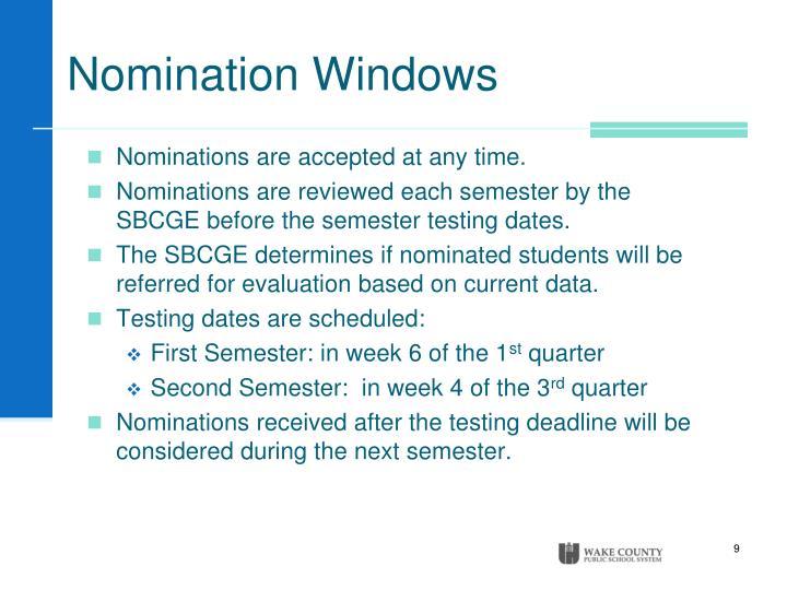 Nomination Windows