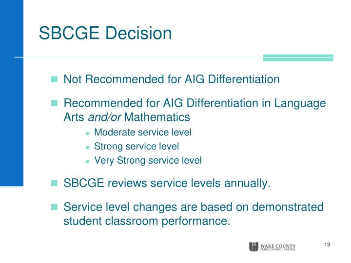 SBCGE Decision