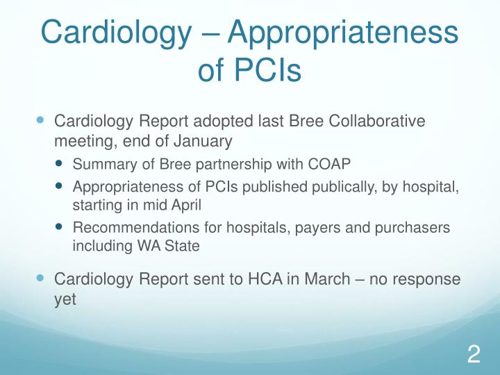 Cardiology appropriateness of pcis