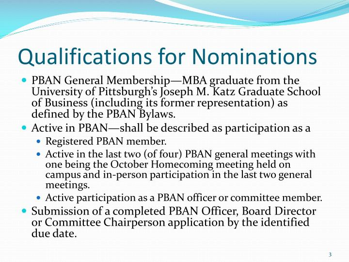 Qualifications for Nominations