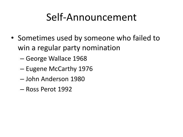 Self-Announcement