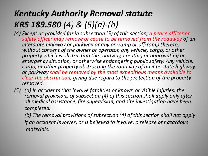 Kentucky Authority Removal statute