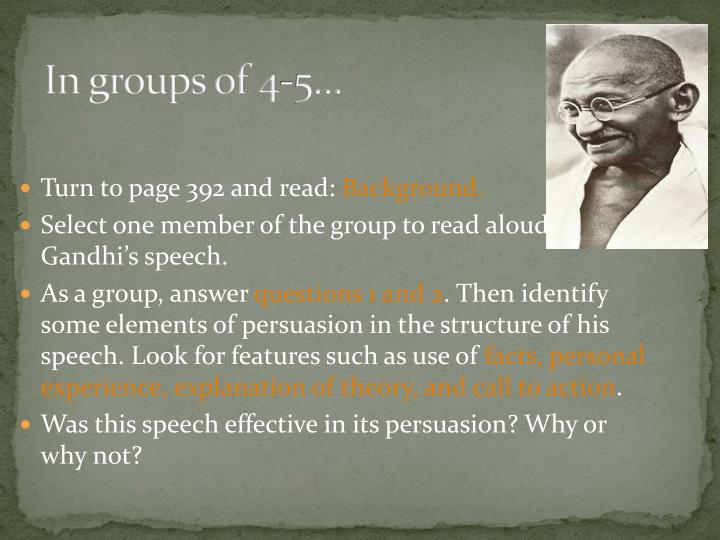 In groups of 4-5…