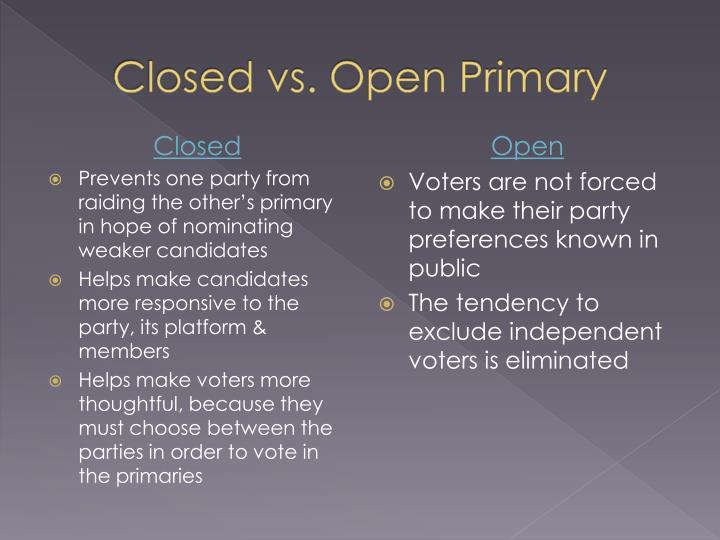 Closed vs. Open Primary
