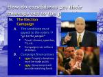 how do candidates get their message out to the people
