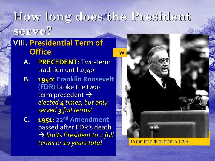 How long does the President serve?