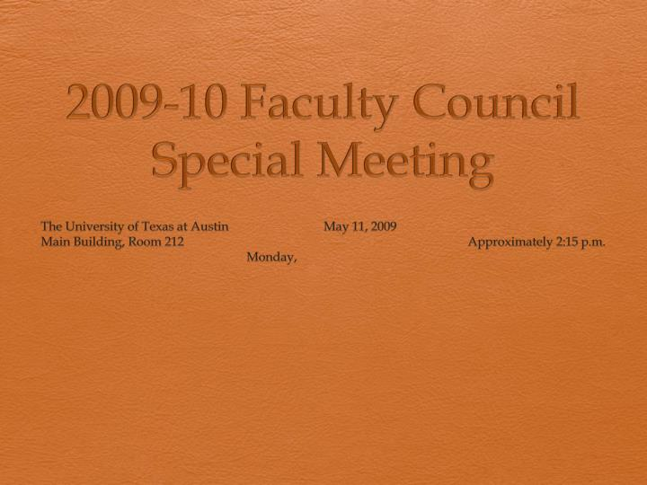 2009 10 faculty council special meeting