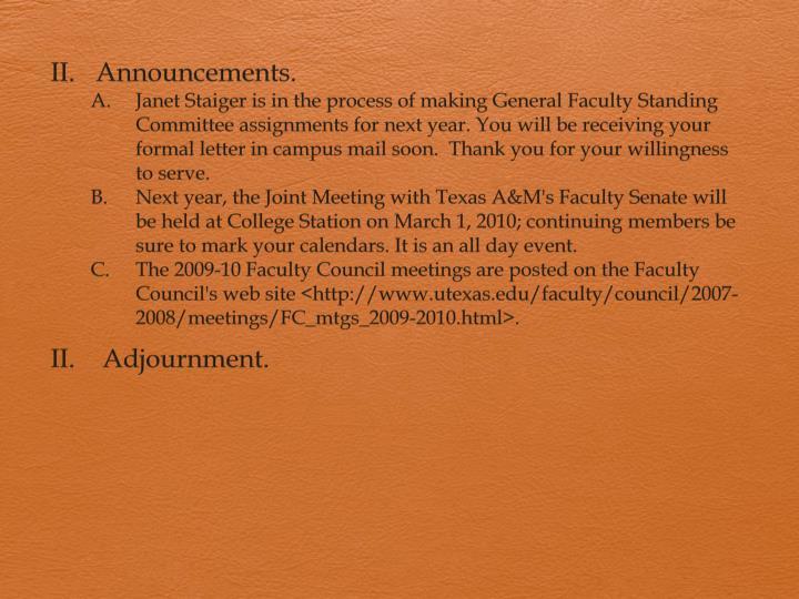 Announcements.