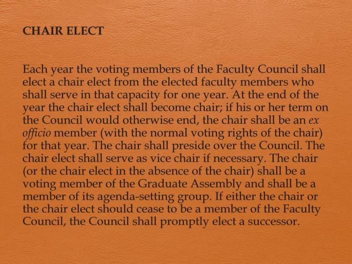 CHAIR ELECT