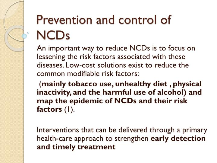 Prevention and control of NCDs