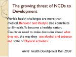the growing threat of ncds to development
