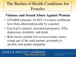 the burden of health conditions for females3