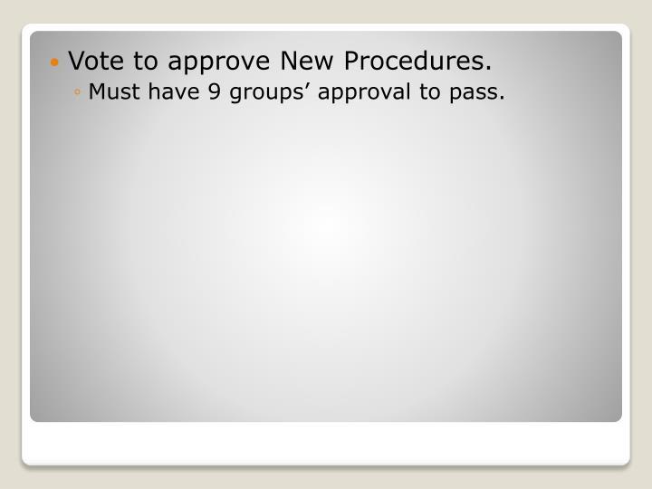 Vote to approve New Procedures.