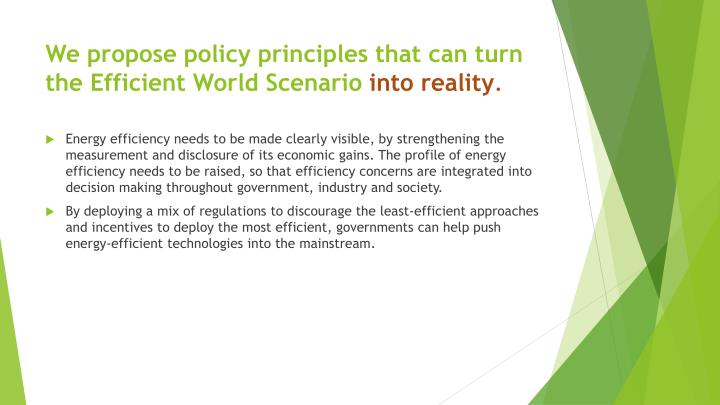 We propose policy principles that can turn the Efficient World Scenario