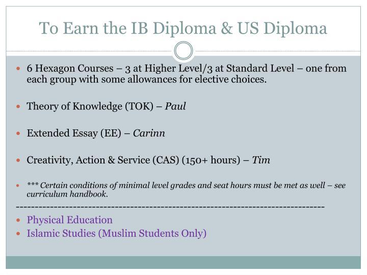 To Earn the IB Diploma & US Diploma