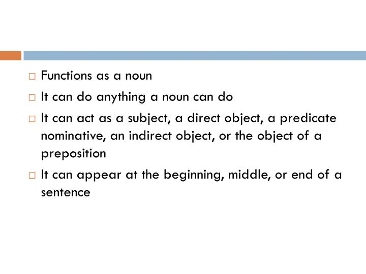 Functions as a noun