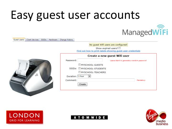 Easy guest user accounts