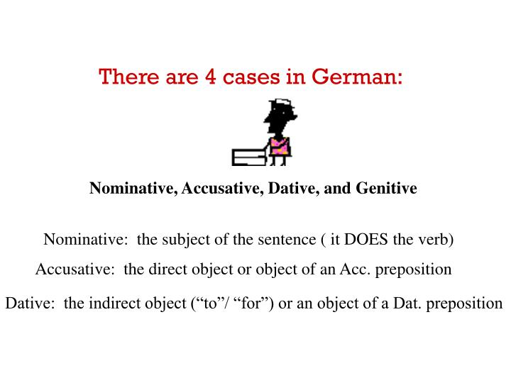 There are 4 cases in German: