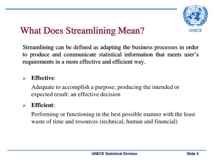 What does streamlining mean