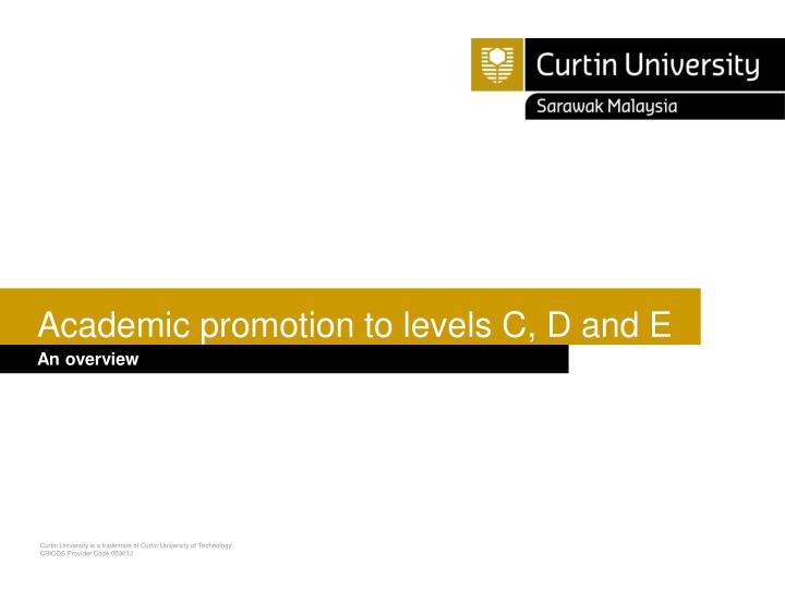 academic promotion to levels c d and e