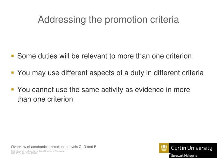 Addressing the promotion criteria