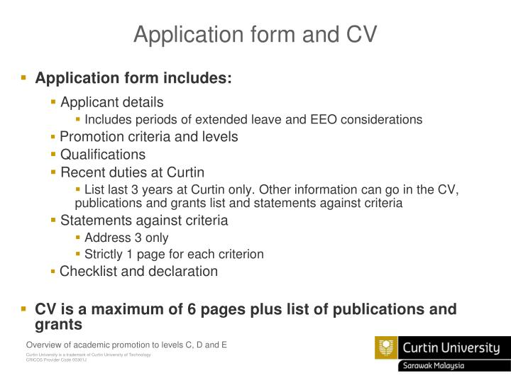 Application form and CV
