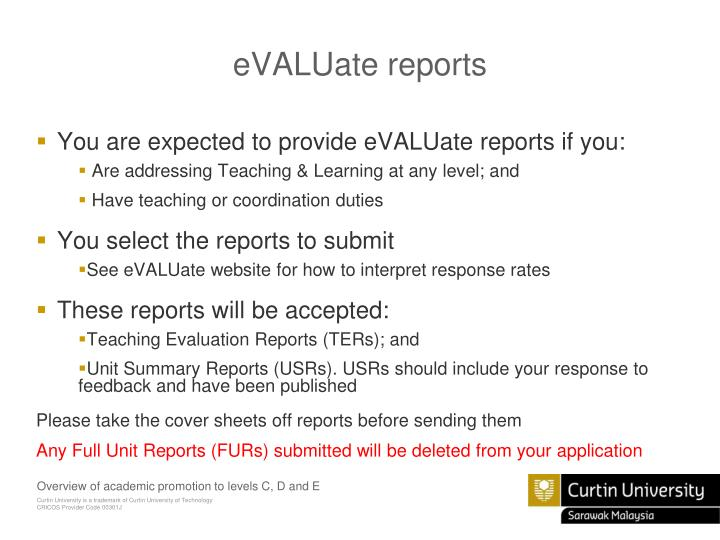 eVALUate reports