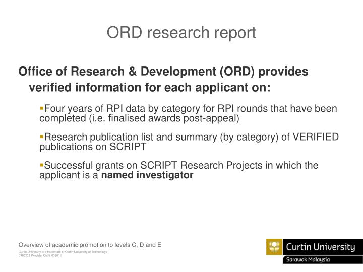 ORD research report