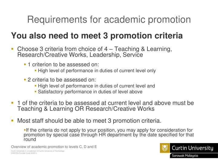 Requirements for academic promotion